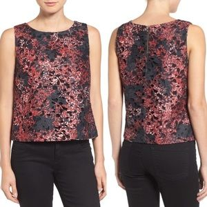 Vince Camuto Print Lace Shell Top